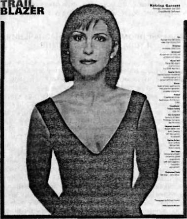 Реклама «CrossWorlds», на которой изображена основательница и исполнительный директор компании Катрина Гарнетт
